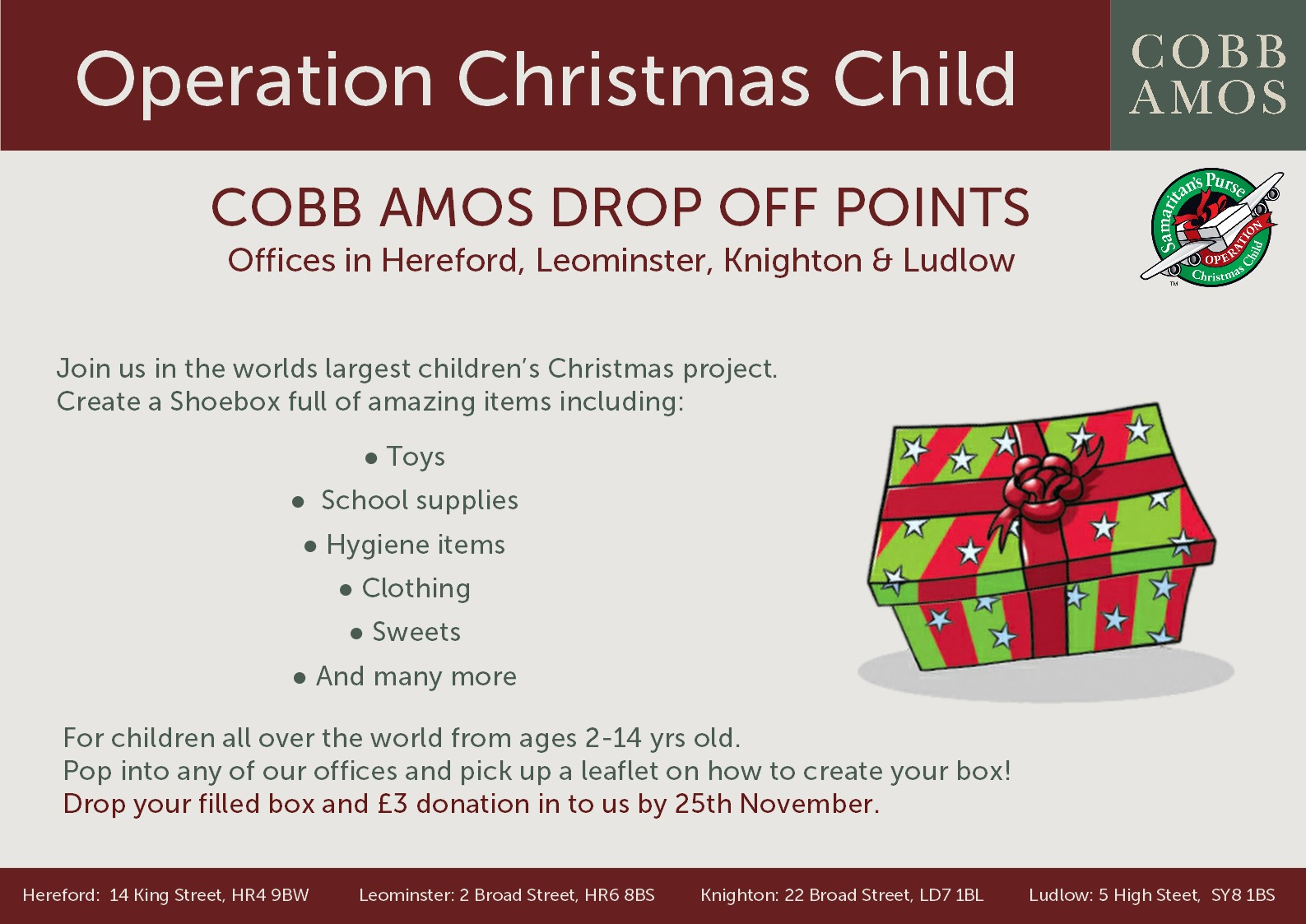 Operation Christmas Child - Cobb Amos Estate Agents
