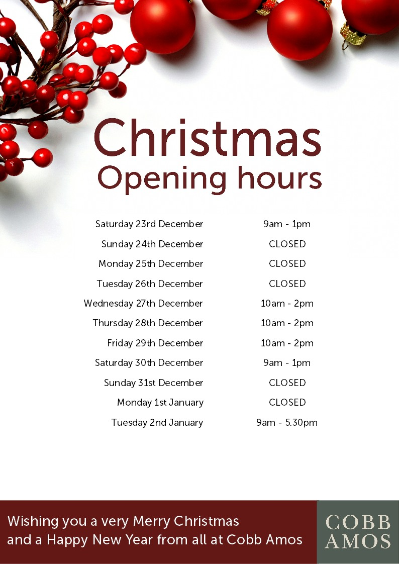 Christmas Hours.Christmas Opening Hours Cobb Amos Estate Agents